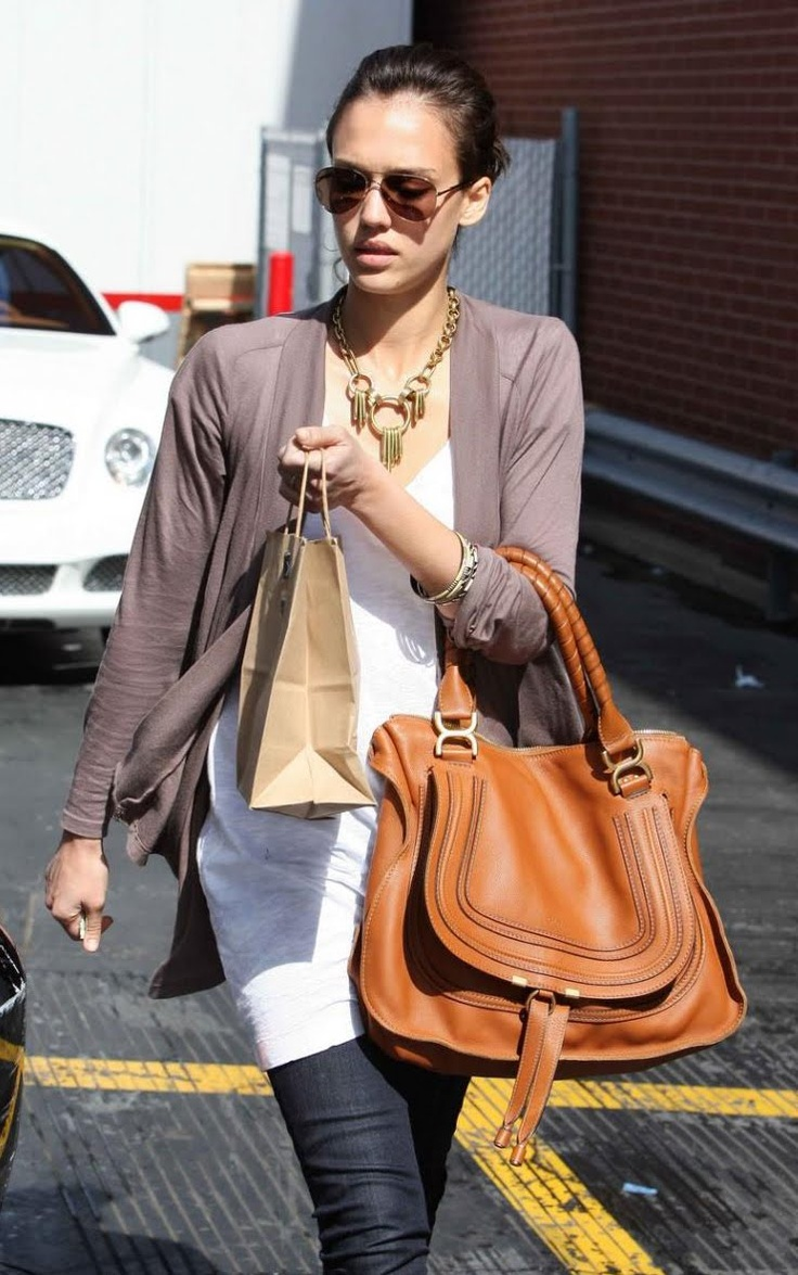 Jessica #Alba- #Chloe #Marcie satchel | Denim Looks | Pinterest ...