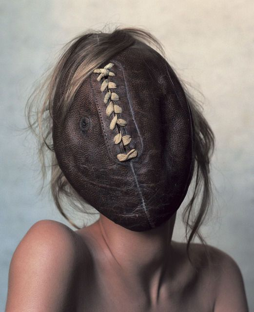 Irving Penn's Football Face photograph, now on display at Pace Gallery!