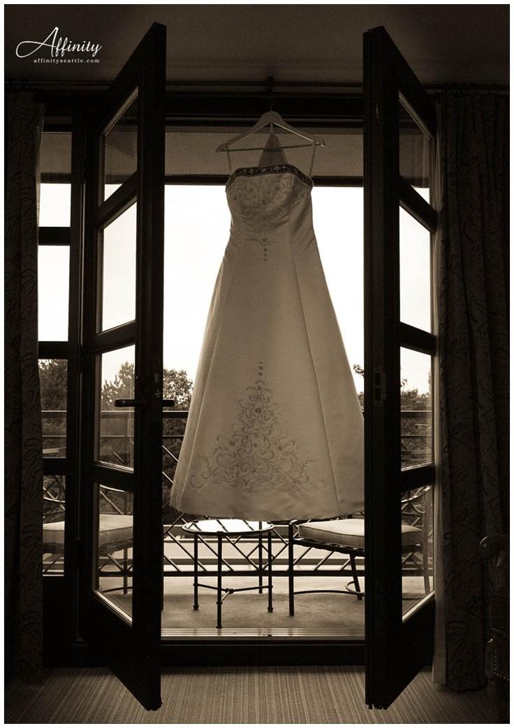 Dress + french doors + balcony = BEAUTIFUL! Wedding