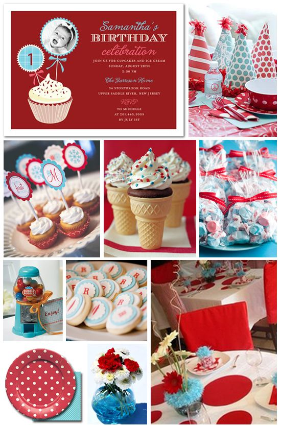 Instead of the typical 4th of July red white and blue do red and white polka dots and aqua for Andlee's first birthday colors to girly it up a bit.