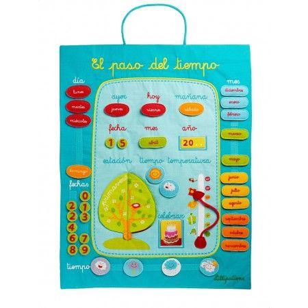 Calendario, se puede hacer con velcro y cartulina plastificada, con telas, etc