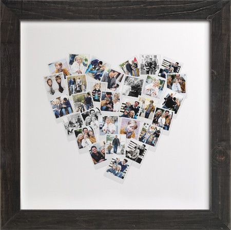 Wall art- snapshot photo collage.  Upload pictures, and choose your size and your frame. Photo only for (p)inspiration.