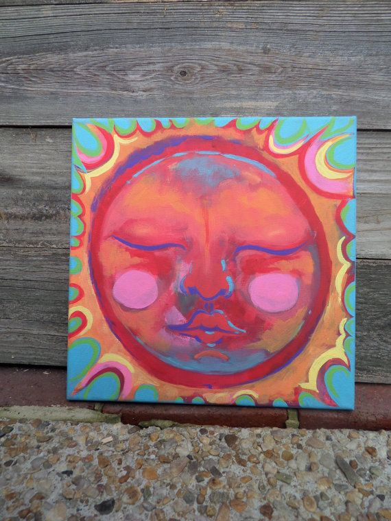 Sun moon stars beach vibe boho surf bohemian hippie painting color nature cottage chic beachy canvas surfer garden home eclectic artsy Etsy listing at https://www.etsy.com/listing/474396337/60-off-sun-canvas-painting