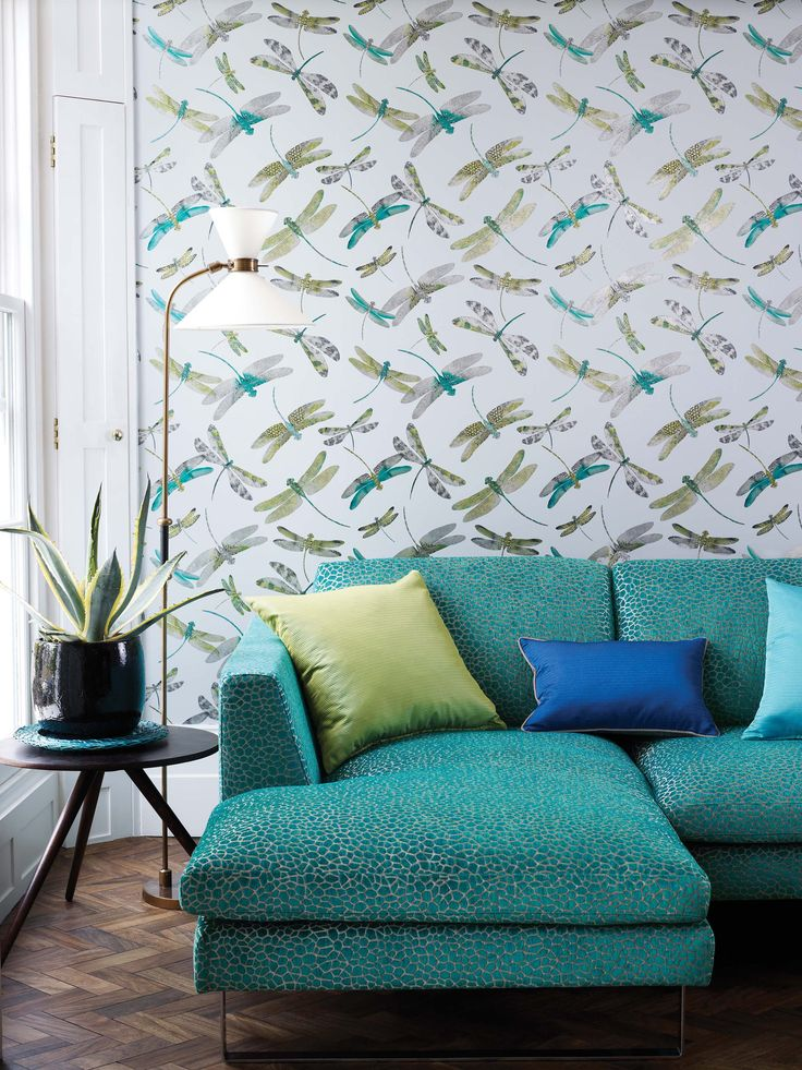 Dragonfly Dance wallpaper and Kairi, Dominica, and Shimmer fabrics by Matthew Williamson at Osborne & Little