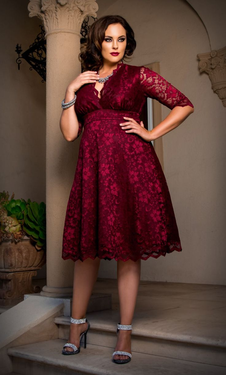 Get ready for the holidays in our plus size Mademoiselle Lace Dress. Check www.kiyonna.com for available colors at www.kiyonna.com. #Kiyonna #lace #plussize