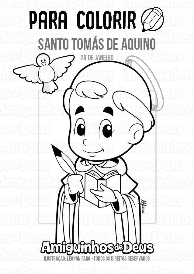 Santo Tomas De Aquino Desenho Para Colorir Com Imagens Santo