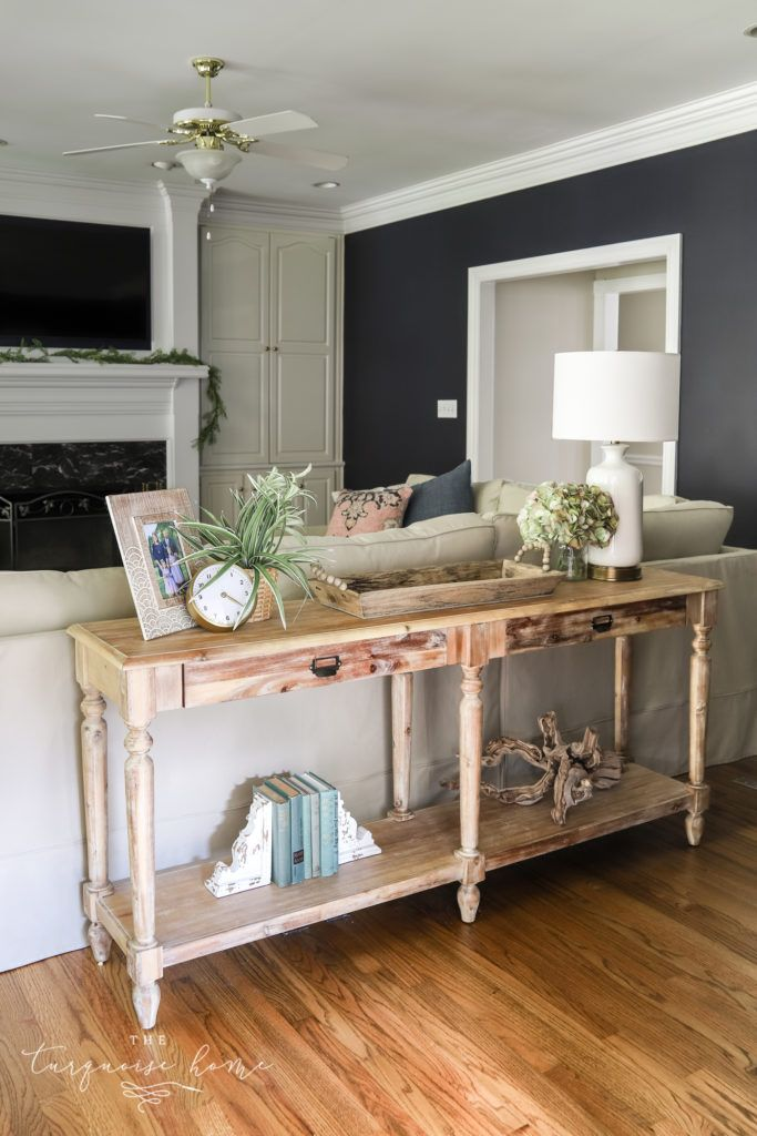 How To Style A Console Table Behind A Couch 4 Ways Table Decor Living Room Sofa Table Decor Console Table Behind Sofa Living room table behind couch