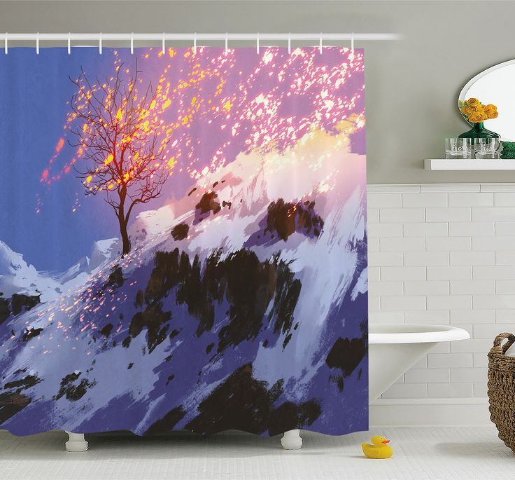 Fantasy Art House Magical Landscape with Showing Bare Tree in Winter Valley with Snow Shower Curtain Set
