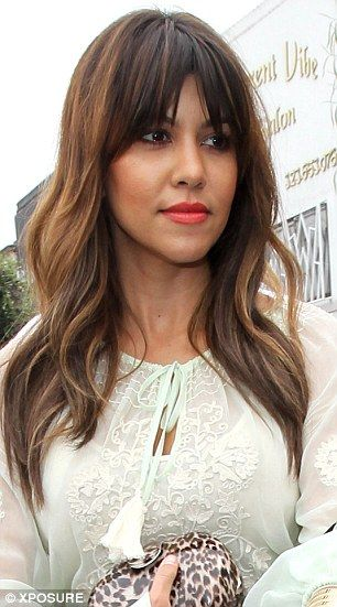 A new summery do': Kourtney Kardashian debuted a longer and more auburn-coloured hairstyle on Thursday, left. She was seen just last week on the right with shorter hair - beautyandhairhaven.com