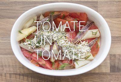 Ensalada de tomate, espárragos blancos y anchoas. #receta #pescado