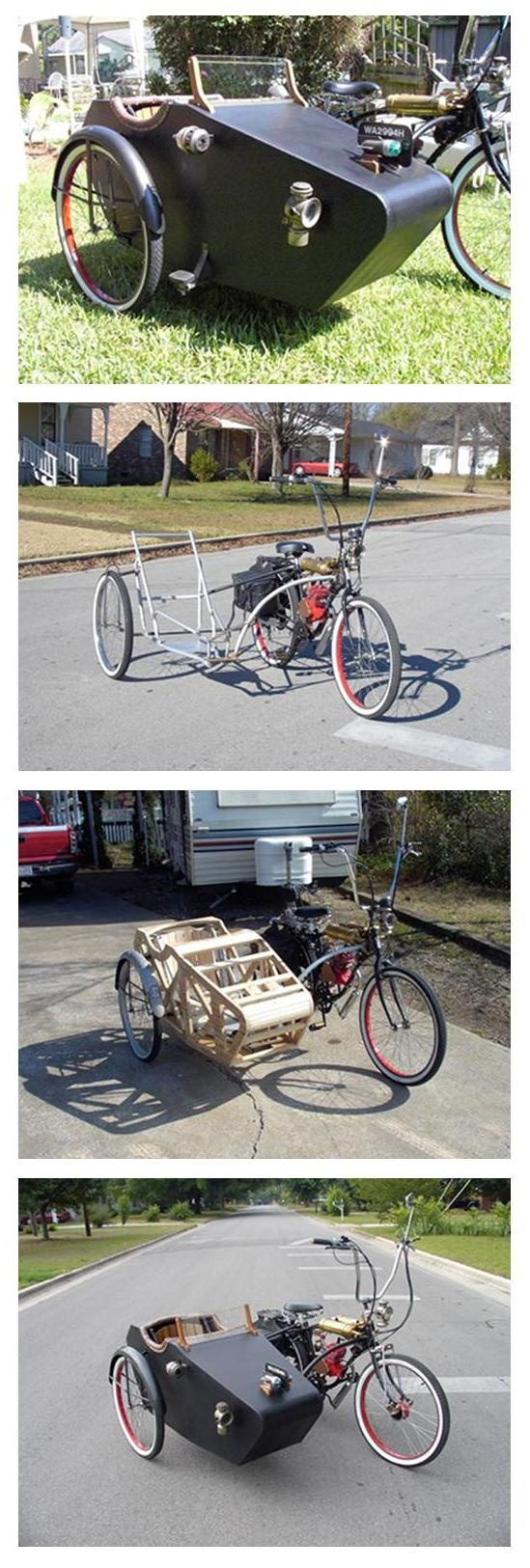 DIY Sidecar bicycle. Fantastic antique design. Better with some sort of hood so kids don't get wet?
