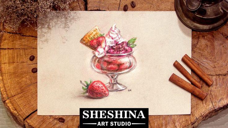 How to draw a strawberry ice cream with soft pastels 🎨 Sheshina Ekaterina