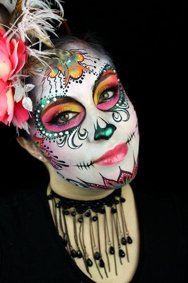 Simply stunning Sugar Skull by Elissa Griffith- makeup available at sillyfarm.com #SugarSkull #DiaDeLosMuertos