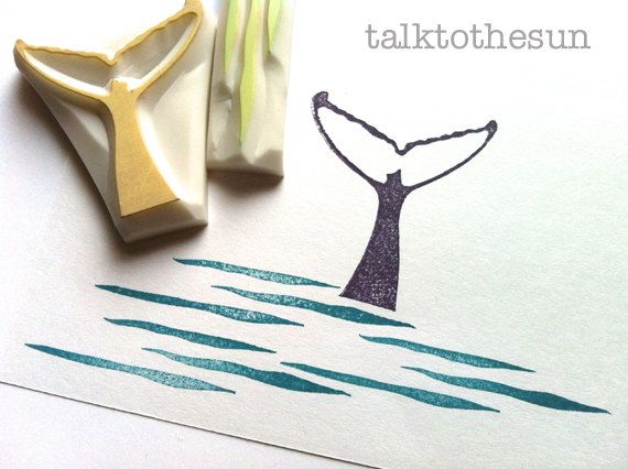 whale rubber stamp. hand carved rubber stamp. earth day. whale fin and wave. set of 2.