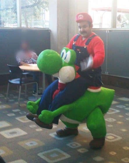 Make your own Super Mario riding Yoshi costume