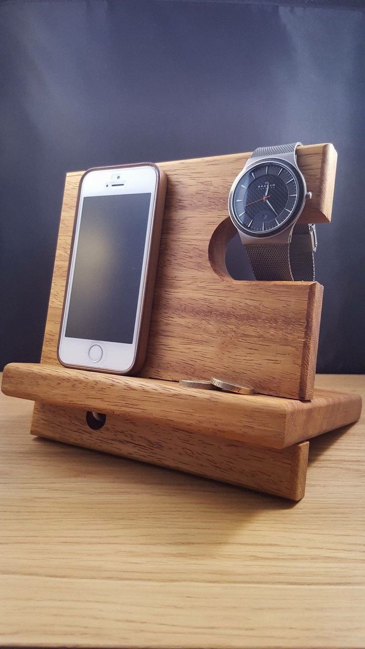 A personal favourite from my Etsy shop https://www.etsy.com/uk/listing/266204970/mobile-phone-watch-wallet-valet-stand