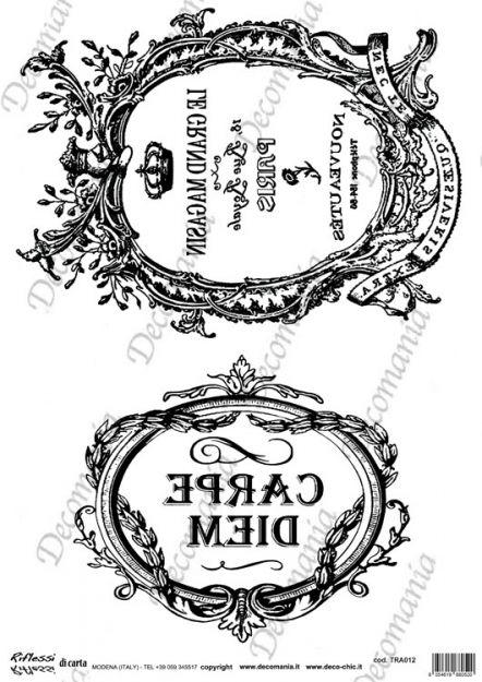 Codice: TRA012 Carta con disegni in bianco e nero ideale per il trasferimento d'immagine con l'utilizzo della soluzione DecoTRANSFERmania. DEC: LIQ125   Formato A3 ( 295x420 mm)  www.deco-chic.it