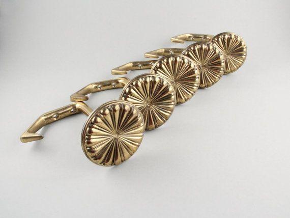 Vintage coat rack Mid Century Modern coat hooks set of 5 golden hooks brass by LeKosmosBerlin