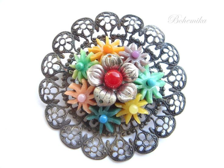 Vintage Antique Filigree Brooch Pin Art Deco Style Czech Flower Silver Large Old