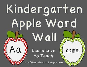Kindergarten Word Wall with Graphics from Ashley Hughes :) $