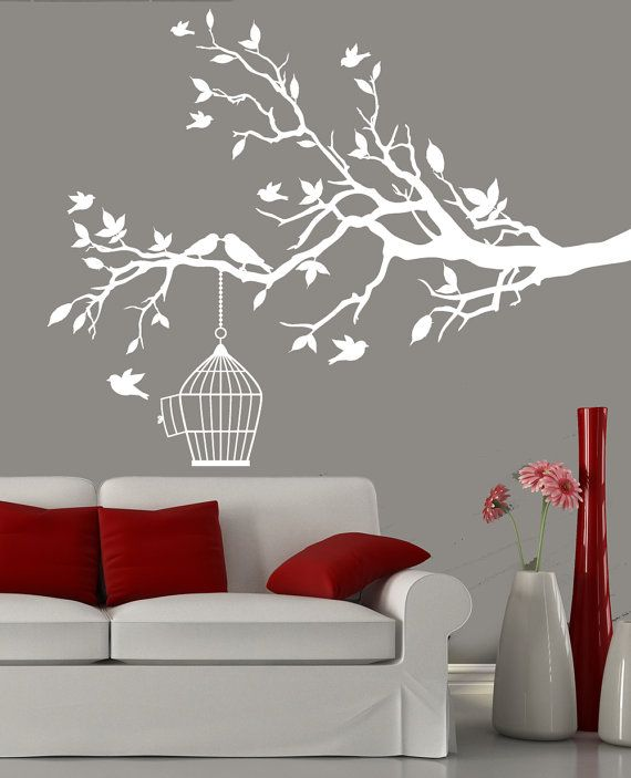 White tree branch with a bird cage and birds wall decal -