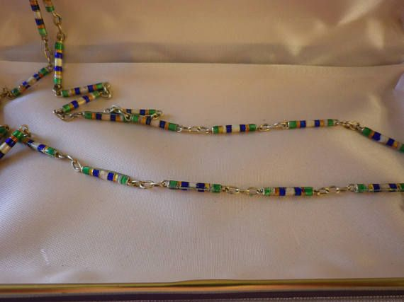Vintage Cloisonne Multi Coloured Chain Necklace GP Silver