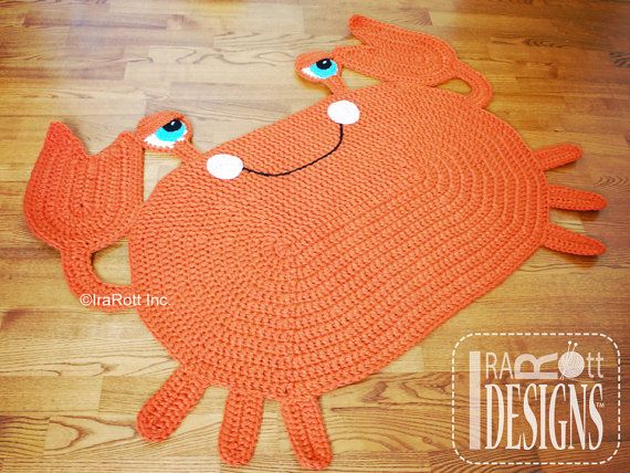Cranky Crab Nursery Play Rug Carpet Mat Crochet Pattern by IraRott