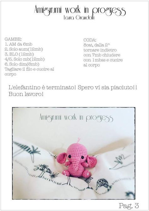 amigurumi elefantino free in italiano