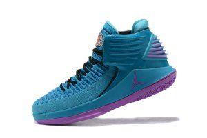6a77522d1e24a0 Mens Nike Air Jordan XXXII AJ32 Charlotte Hornets PE Promo Blue Violet Boy  Basketball Shoes