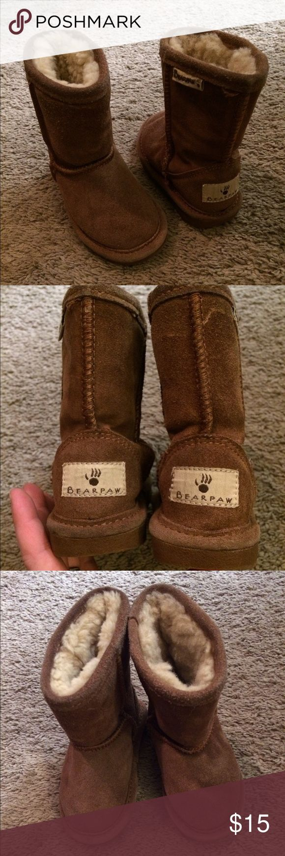 Girls BearPaw Boots This boots are in great shape with only minimal signs of wear! Soles look great as well! Great addition to your little girl's closet. She will love these furry boots for this winter! BearPaw Shoes Boots