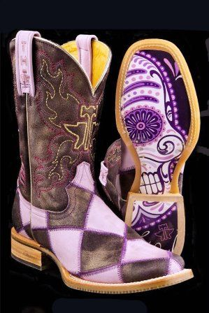 NRS Purple Sugar Cube Tin Haul Boots http://www.nrsworld.com/tin-haul-footwear/tin-haul-purple-check-sugar-cube-11-top-cowgirl-boot-114826