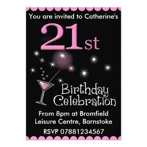 21st Birthday Party Invitation - Cocktail Glass