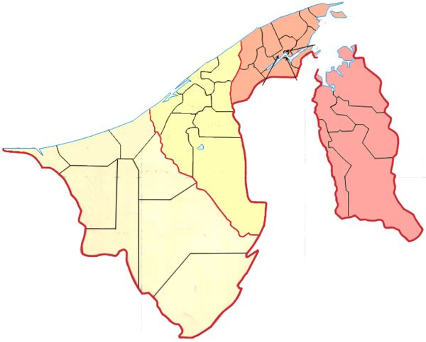 Brunei is divided into four districts (daerahs) and 38 subdistricts (mukims). ◆Brunei - Wikipedia http://en.wikipedia.org/wiki/Brunei #Brunei