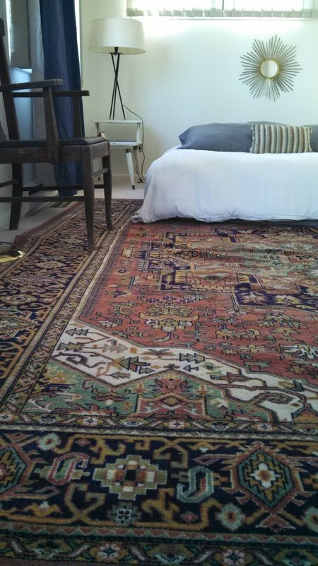 Master Bedroom Persian Heriz Rug In Rust Green And Navy