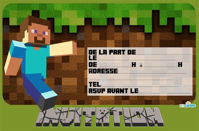 Invitation anniversaire gratuite à imprimer Minecraft. Survivre à tout prix, le joueur est plongé dans un monde crée dynamiquement et composé de blocs de d