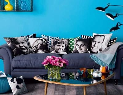 Photo Cushions. Buy light-colored cushions with removable covers and iron-on transfer paper. Print an image on the paper, then iron it on.