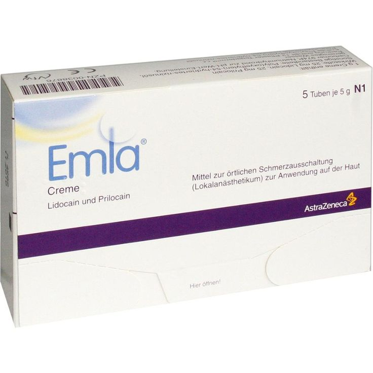 EMLA Creme + 12 Tegaderm Pflaster:   Packungsinhalt: 5X5 g Creme PZN: 00038876 Hersteller: AstraZeneca GmbH Preis: 22,85 EUR inkl. 19 %…