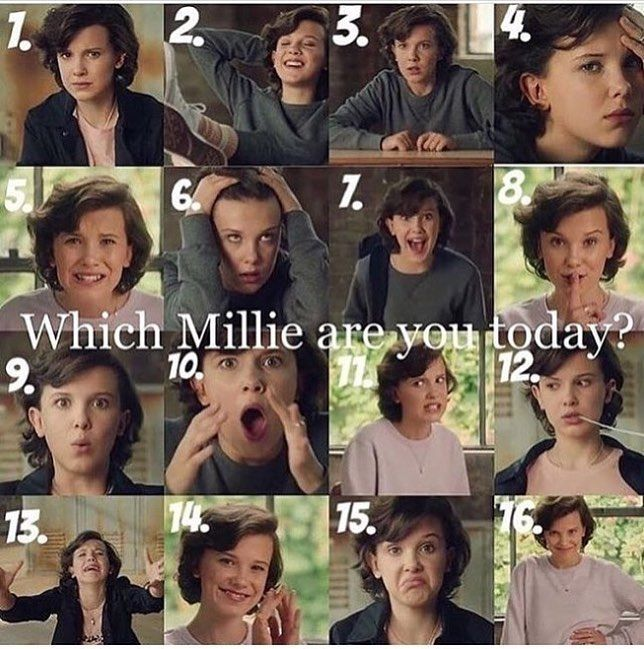 "48 Likes, 20 Comments - STRANGER than IT looks (@fiinnwolfhardoffficial) on Instagram: ""Which Millie are you today ? I think I'm number 6 today What about you ? #milliebobbybrown…"""
