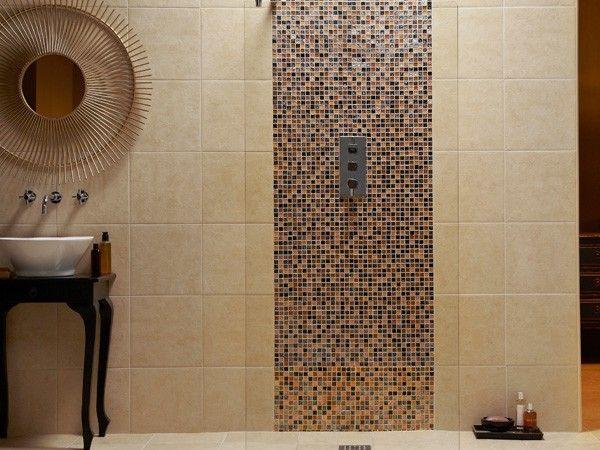 162 best wet room images on pinterest bathroom for Wet room mosaic floor tiles