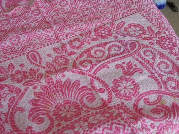 Vintage Pink Damask Jacquard Fuchsia Bedspread by StoreFourandMore