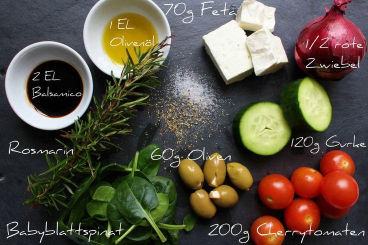 griechischer Salat im Glas