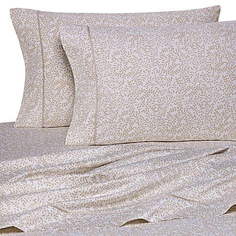 Wamsutta® 400 Thread Count Vine Printed Twin XL Sheet Set in Taupe