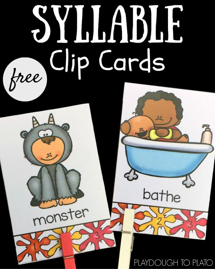 These free self-checking syllable clip cards are a great preschool or kindergarten literacy center or guided reading activity!