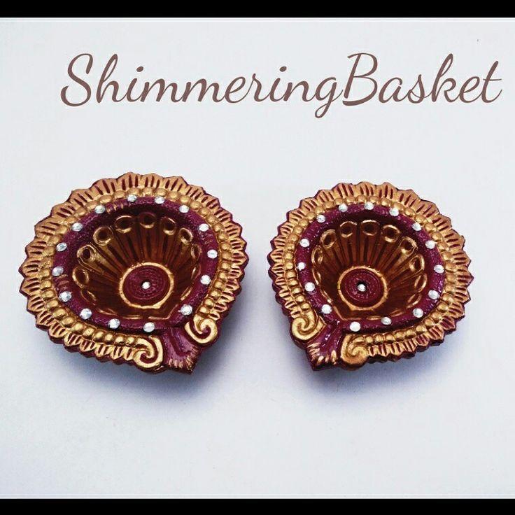Brown and gold with rhinestones #diya #handpainted #homeDecor #diwali2015 #indianwedding #indianfestival    https://m.facebook.com/ShimmerinBasket