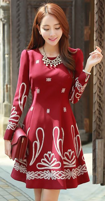 Jalapeño Embroidered Princess Sleeve Flared Dress #koreanfashion #kstyle #seoul #flareddress