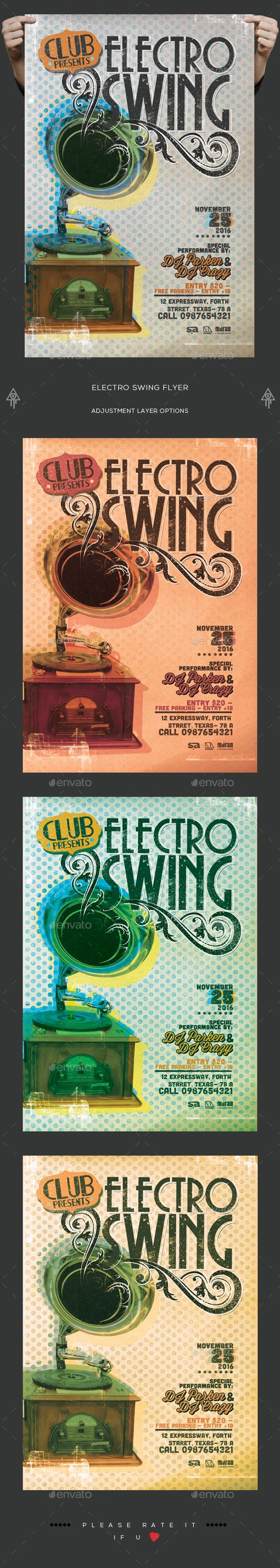 Electro Swing Flyer  — PSD Template #flyer #event • Download ➝ https://graphicriver.net/item/electro-swing-flyer/18365430?ref=pxcr