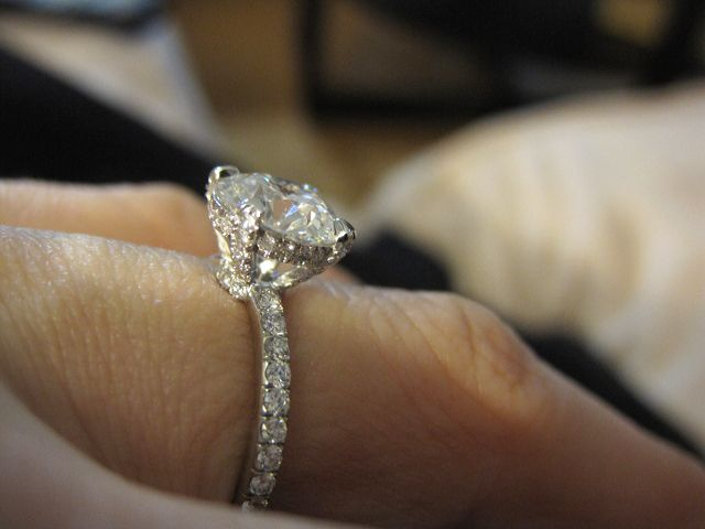 Pave diamond solitaire engagement ring
