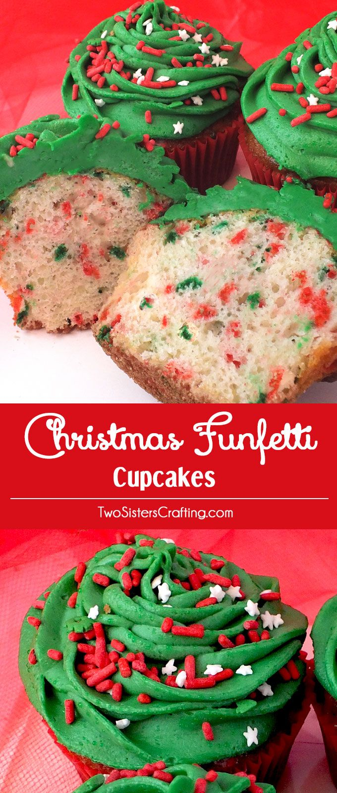 Our colorful Christmas Funfetti Cupcakes will be a festive addition to this year's Christmas Desserts. And the kids in your life will really love these red and green Christmas Cupcakes! Follow us for more fun Christmas Treats.