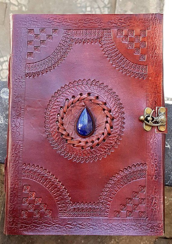 Vintage Leather Embossed Stone Journal Personal Handmade Parents Day Special