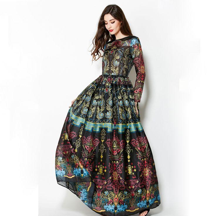 Spring Long Sleeves Elegant Retro Print Dress //Price: $61.99 & FREE Shipping //     #hashtag2